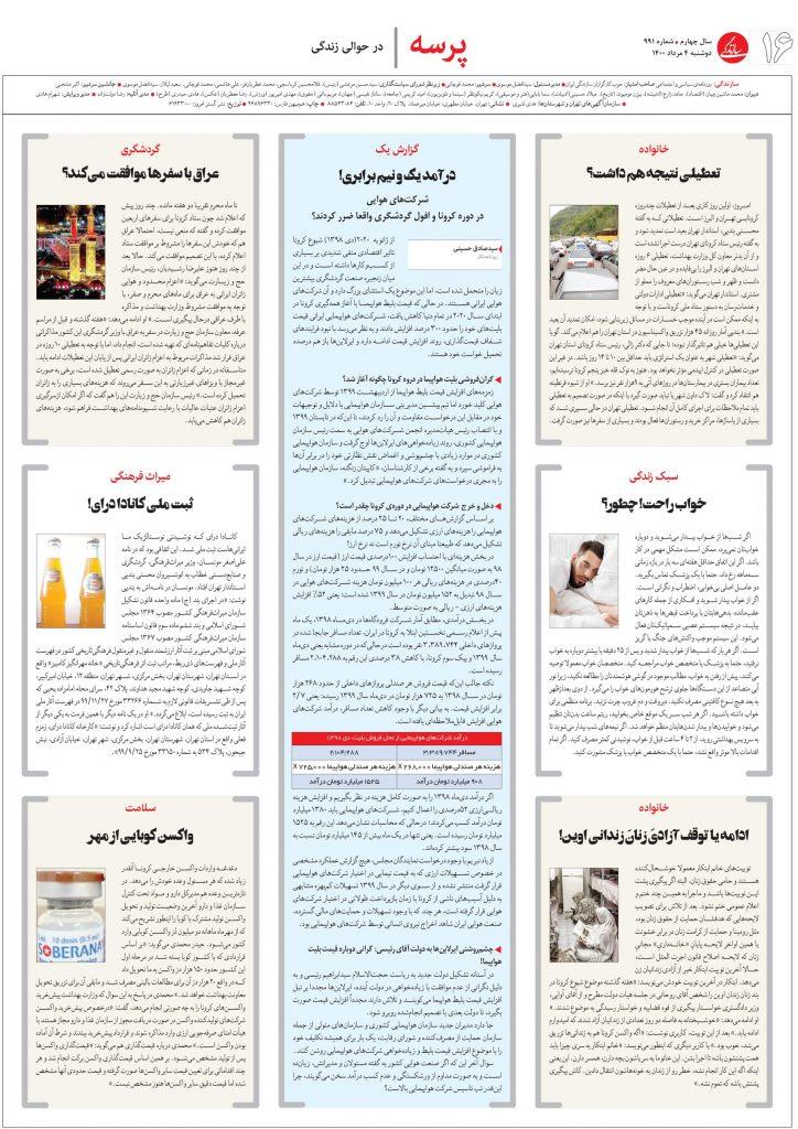 سیدصادق حسینی، روزنامه سازندگی